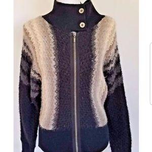 Free People Black Gray Beige Zip Sweater Crochet M